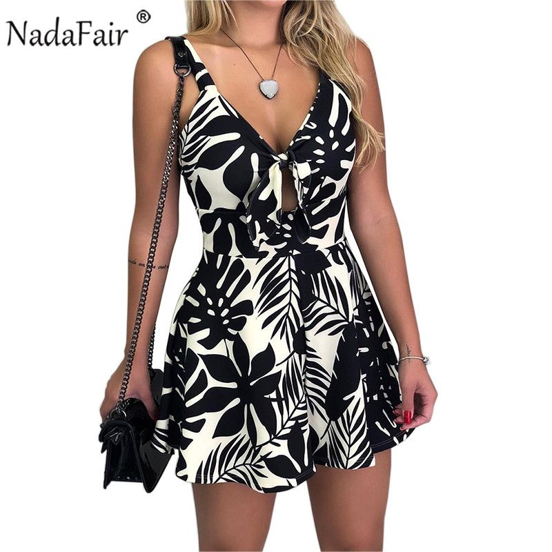 Nadafair Women Summer Romper Plus Size Sexy Backless V Neck Bow Tie Up Floral Printed Short Jumpsuit Beach Playsuit