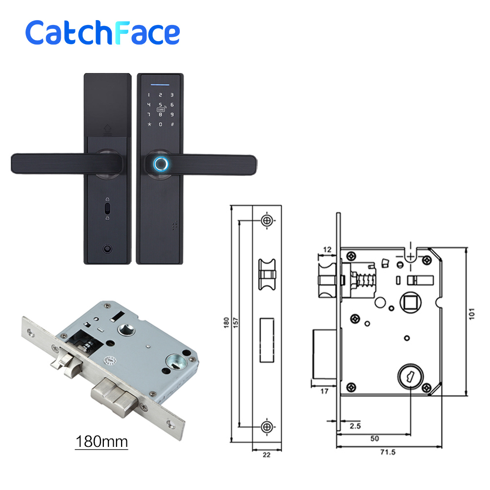 Image 4 - Fingerprint Lock Smart Card Digital Code Electronic Door Lock Home Security Mortise Lock with 5 Mortise Size Options-in Electric Lock from Security & Protection