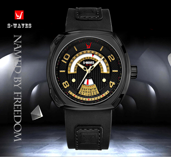 Casual Week Watches Mens 2019 Black Gold Luxury Leather Clock Men Watch Water Resistant Unique Date Reloj Hombre SWAVES Brand