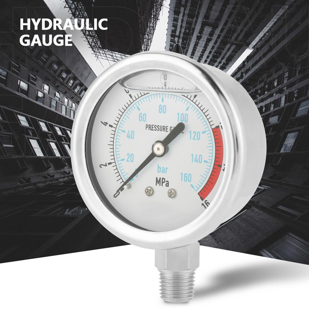 0-160Bar 0~16Mpa 60mm Dial Air Hydraulic Water Pressure Gauge Meter 1//4 NPT Hydraulic Pressure Gaugem
