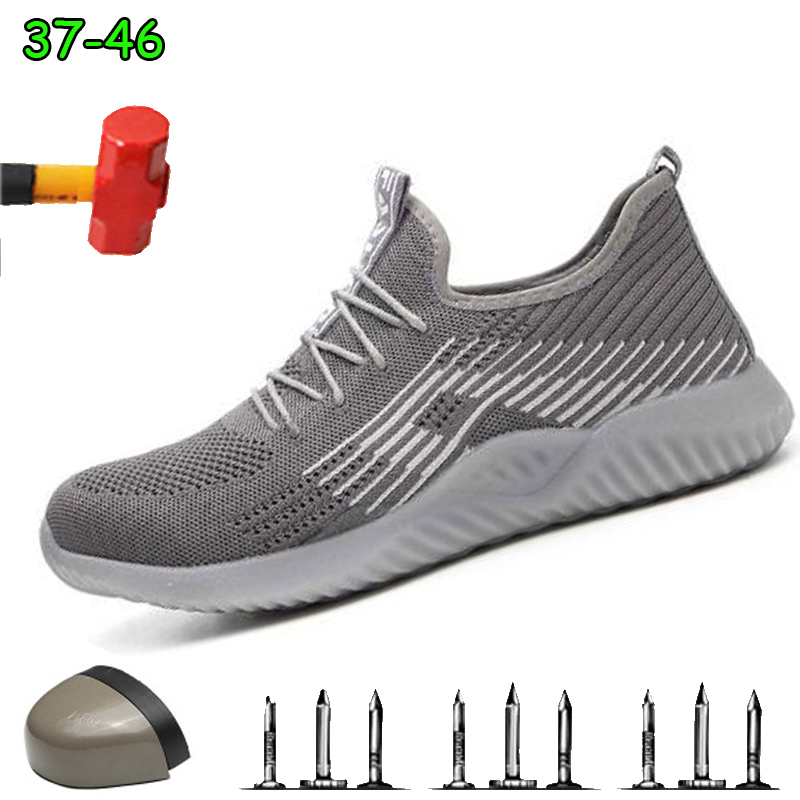 Indestructible Breathable Steel Toe Work Safety Shoes For Men Male Boots Construction Safety Work Boots Shoes Anti-Crush
