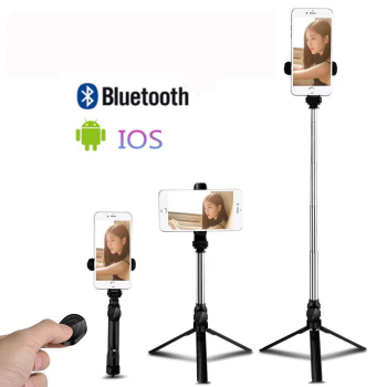 цена на New Adjustable Bluetooth Selfie Stick with Remote Control Self timer Tripod Mobile Phone Selfie Stick Tripods Live Video Support