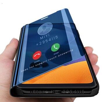 Перейти на Алиэкспресс и купить Чехол samung a 21 s для samsung galaxy a21 s a21s, умный зеркальный чехол с откидной крышкой для samsung galaxy a21 s a21s, чехол с подставкой для телефона 6,5 дюйма с функ...