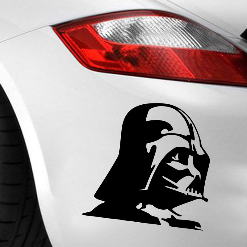 virtually any hard smooth surface Trademark Unique Deals cars trucks tool boxes Die cut vinyl decal for windows laptops Darth Vader window sticker vinyl decal car truck fun White MacBook
