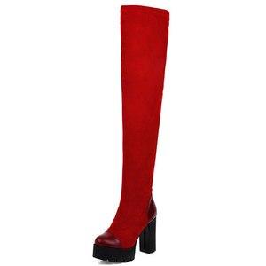 Image 3 - Sgesvier 2020ผู้หญิงกว่าเข่ารองเท้าบูทรอบToeแพลตฟอร์มผู้หญิงฤดูหนาวรองเท้าPatchwork PU Flockสแควร์ส้นรองเท้ายาวg743