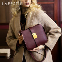 LAFESTIN 2019 new retro wide shoulder strap women bag luxury leather handbag