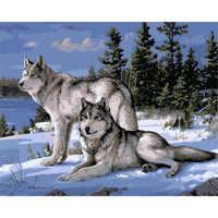 Без рамки волк животные Сделай Сам Набор для рисования по номерам краски на холсте акриловые раскраски по номерам для домашнего декора стен