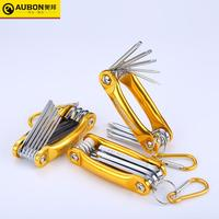 AUBON 8 IN 1 Foldable Hexagon/ Folding Torx Key Set with Aluminum Grip Handle Metric Allen Key Screwdriver Wrench Set