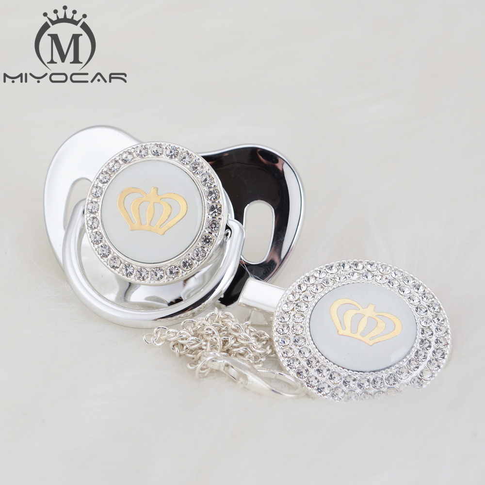 MIYOCAR 11 Color Silver Bling Gold Crown Bling Pacifier And Pacifier Clip BPA Free Dummy Bling Unique Design GCR2-1