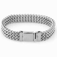 Granny Chic Stylish Mens Stainless Steel 13MM Two-strand Wheat Chain Bracelets Punk Biker Male Bracelet 9 inch