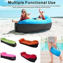 Sandy Beach Inflatable Sofa Picnic Lazy Bag Sleeping Bag Camping Portable Air Banana Sofa Beach Bed Air Hammock With Pillow