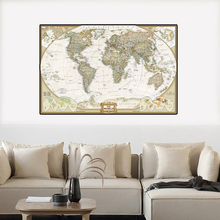 The Wolrd Political Map A2 Size Wall Art Poster And Prints Vintage Canvas Painting Living Room Home Decoration School Supplies