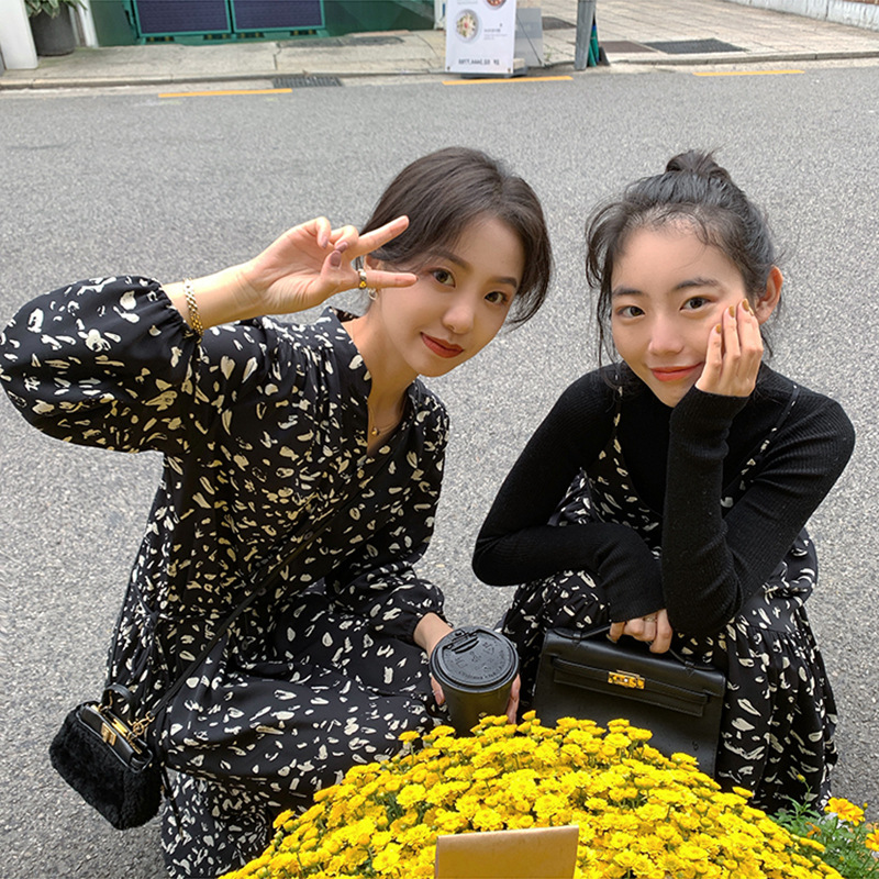 Black Shivering Dress Women's Long-Sleeve 2019 Autumn And Winter New Style Slimming Waist Hugging Long Skirt WOMEN'S Dress Chao