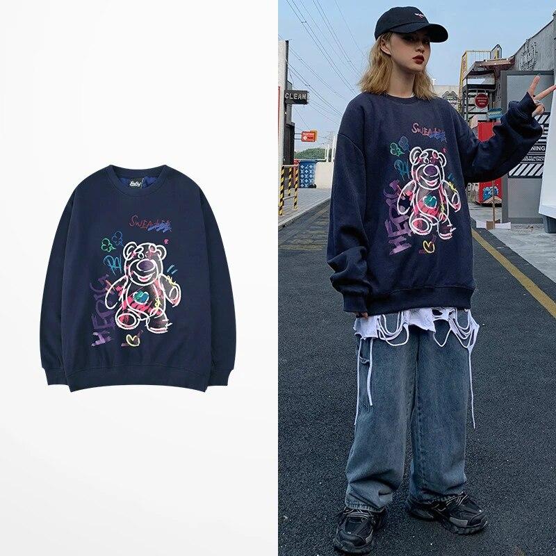 Ins Gaya Korea Fashion Hoodie Kartun Beruang Cetak Hoodies Hip Hop Skateboard Pecinta Beberapa Ulzzang Kanye West Sweatshirt Pria Hoodies Kaus Aliexpress