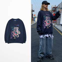 Ins Style Korean Fashion Hoodies Cartoon Bear Print Hoodies Hip Hop Skateboard Lovers Couple Ulzzang Kanye West Sweatshirt Men