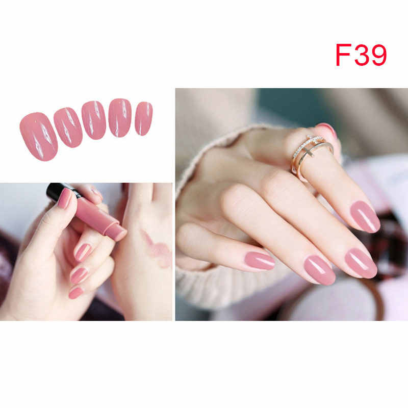 2019 Ladies Girls Solid Color Fake Nails DIY Nails Patch Sticker Strips 24Pcs for Wedding Party Shopping Travelling