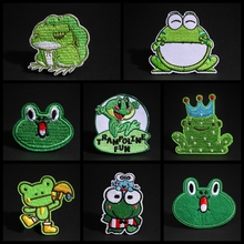 Funny Travel Frog Patches Iron On Cute Animal Cloth Appliques Sewing Kawaii Frog King Queen Badges Stickers