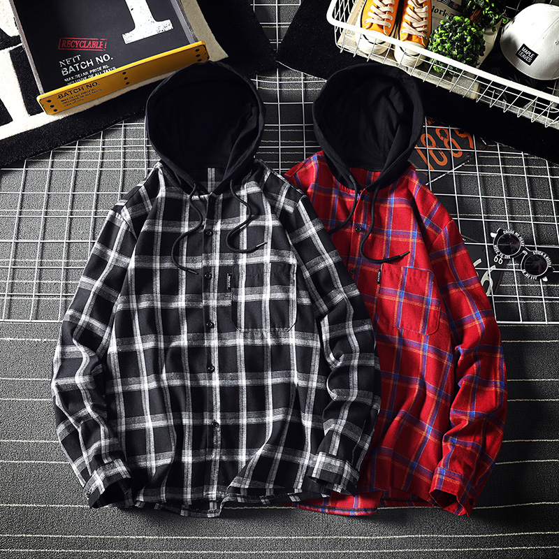 2020 Brand Clothing Men Spring Loose Hoodie Plaid Shirts/Male High Quality Leisure Long Sleeve Shirts Camisas Hombre Size S-5XL