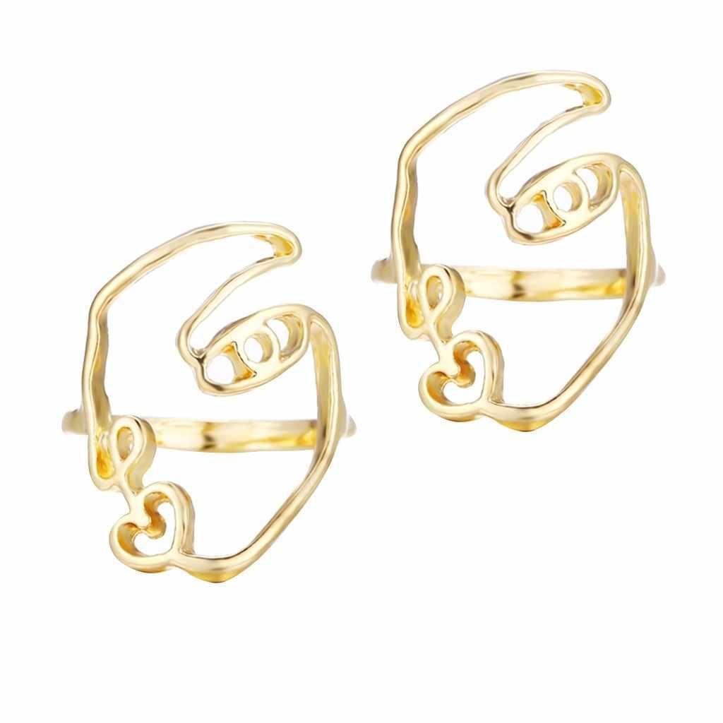 2 ชิ้น/เซ็ต Hip Hop บทคัดย่อที่ไม่ซ้ำกันแหวนชุด Hollow Minimalist Matching Half Face แหวน Anillos Mujer คู่แหวน