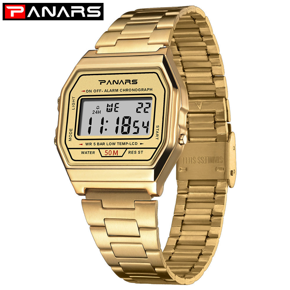 PANARS Men Waterproof Digital Watch Gold Color Stainless Steel Band Watches Men Women Sport Watch Simple Fashion Wristwatch|Digital Watches| |  - title=