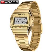 PANARS Men Waterproof Digital Watch Gold Color Stainless Steel Band Watches Men Women Sport Watch Simple Fashion Wristwatch цена 2017