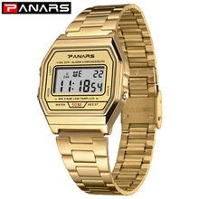 Digital Watch PANARS Gold-Color Waterproof Simple Stainless-Steel Fashion Band Men Women