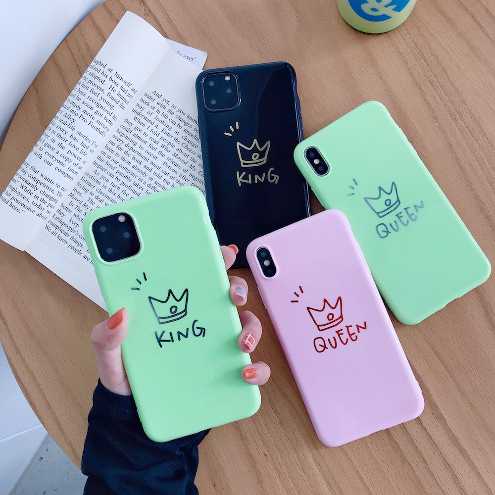 Nova marca bonito coroa rei rainha caso macio para iphone x xs xr xsmax 8 plus 8 7 plus 7 6s plus 11pro 11 promax 11 capa de telefone coque