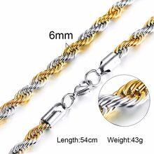 Vnox lina ze stali nierdzewnej łańcuch mężczyźni naszyjnik złoty Tone Twisted Wave linki podstawowe łańcuchy Choker Unisex biżuteria punkowa