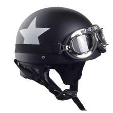 Unisex Motorcycle Safety Helmet With Glasses Detachable Visor White Star Pattern