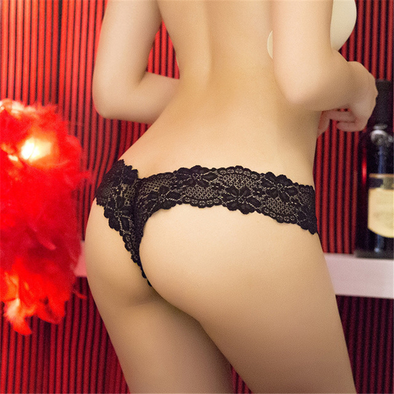 Women's Sexual Interest Open Crotch Panties Hollow Transparent European And American Thongs Open Lace Panties