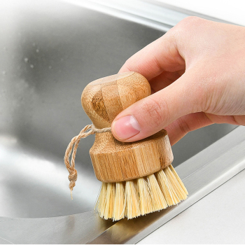 Gongfu Tea Tools Brush Wooden Bamboo Round Washing Brush Kitchen Round Handle Easy Use Convenient Cleaning Tool image