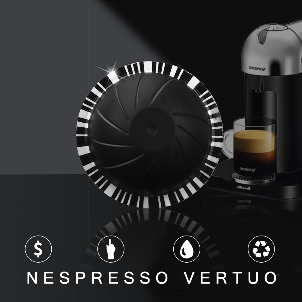 Reusable Nespresso Vertuo Coffee Capsule With Disposible Foils Seals Stcker Big Cup 230 ML For Vertuoline
