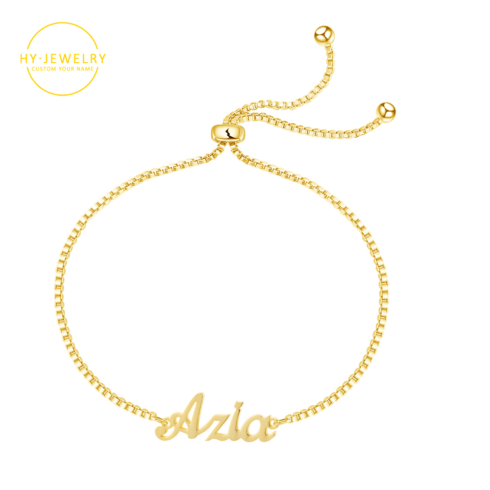 Personalized Custome Name Bracelet For Women Girl Box Chain Links Adjustable Gold Stainless Steel Letter Anklet/Bracelet Jewelry