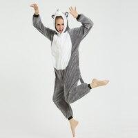 Grey Husky Unisex Adult Animal Pajamas Onesies Cosplay Large Cartoon Adult One-piece Sleepwear Pajamas Christmas Costume