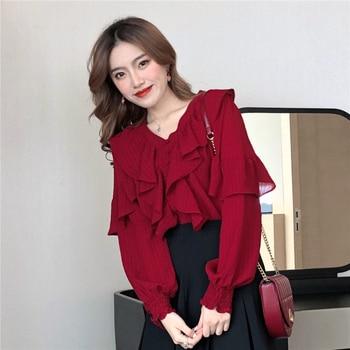 #5072 Spring Summer Vintage Red Chiffon Blouse Women Long Sleeve Sexy V Neck Ruffles Blouse Femme Korean Fashion Ladies Tops blouse 1207041 13