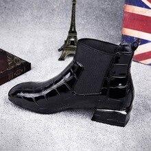 2021 Mujer Botas de cuero brillante de la PU Otoño e Invierno Zapatos de Mujer Spuare dedo tacones tobillo Botas Mujer Botas Zapatos para Mujer