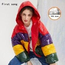 Winter fashion white duck down jacket down jacket 2019New women's warm coating PU short women's short down jacket XL First song недорого