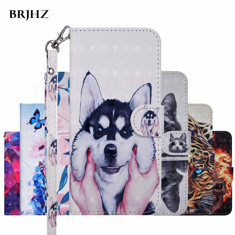 Flip Leather Case For <font><b>Fundas</b></font> <font><b>Samsung</b></font> Galaxy A50 <font><b>A10</b></font> A20 A30 A7 A8 J4 J6 A6 Plus 2018 Cover 3D Dog Wallet Stand Phone Cover Case image