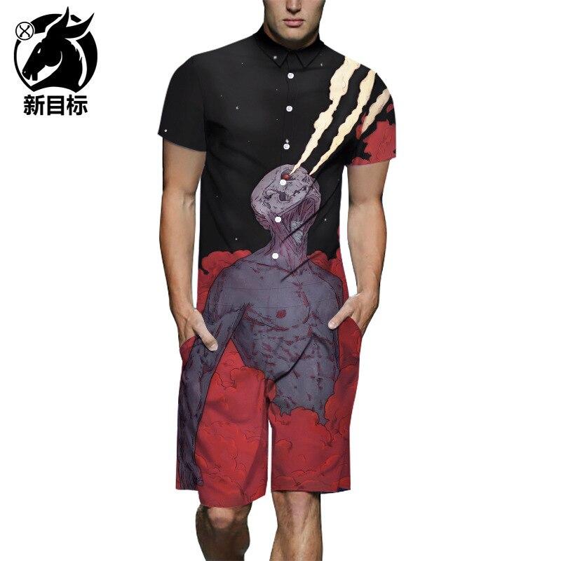 Lard-bucket Workwear  Summer Spitfire Skeleton Printed Onesie Fashion Street Casual One-piece Set Men