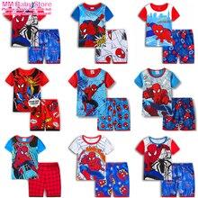 Summer New Boys Girls Pajamas Set SpiderMan Short Sleeve Suit Cotton Cartoon Sleepwear Childrens Sets