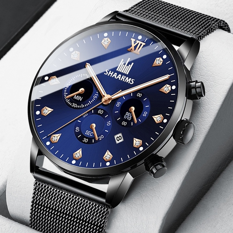 SHAARMS  Fashion Men's Wristwatch Blue DialCasual Quartz Watch Stainless Steel Mesh Band Watch Date Clock Reloj Hombre