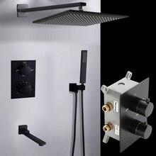BAKALA Schwarz Verborgen Montiert MixerBrass Wand Box Mischen Ventil Schalter Ventil Konstante Temperatur Dusche Armaturen Thermostat