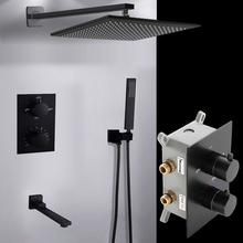 Bakala preto escondido montado mixerlatão caixa de parede válvula interruptor temperatura constante torneiras chuveiro termostática
