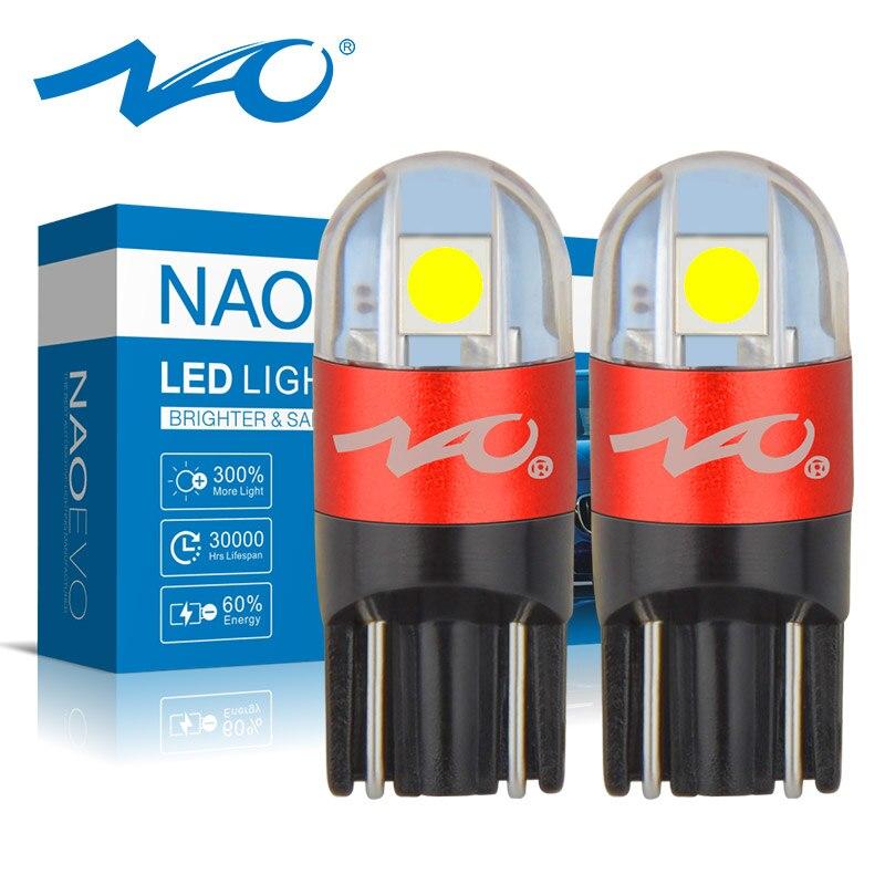 Nao t10 w5w lâmpada led 3030 smd 168 194 acessórios do carro luzes de folga lâmpada leitura auto 12 v branco âmbar cristal azul vermelho motor