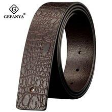 Cinturón de piel auténtica de cocodrilo sin hebilla para hombre, cinturón de cuero liso, sin hebilla, de diseñador, color negro/Café, 3,8 cm