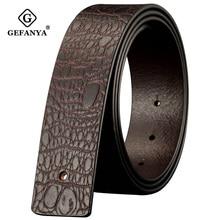 Crocodile Genuine Leather Belt without Buckle Smooth Leather Belt Body No Buckle Designer Mens Belts Black/ Coffee 3.8cm