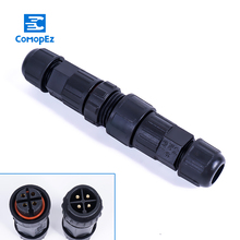 1pc IP68 Solder Connector Waterproof Cable Plug 15A Male Female Assembled Conector 2/3/4/5/6/7/8/9/10 Pin Outdoor Junction Box
