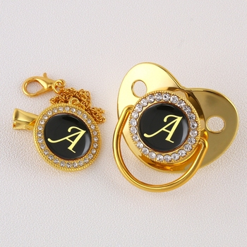 Luxury Golden Initial Letter A Bling Pacifier with Chain Clip Newborn Baby Dummy Food Grade Silicone Pacifier Soother bling bling pacifier clip any initials letter pacifier chain holder dummy clip safe metal chain