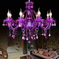 Led e14 Europäischen Eisen Kristall Glas Lila Kronleuchter Beleuchtung Lamparas De Techo Suspension Leuchte Lampen Für Foyer-in Pendelleuchten aus Licht & Beleuchtung bei
