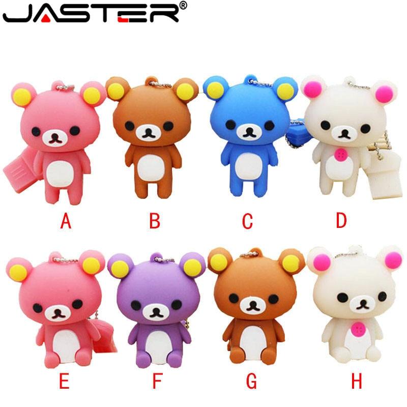 JASTER Lovely Bear Pendrive Key Chain Pen Drive 4gb 8gb 16gb 32gb 64gb Usb Flash Drive Real Capacity Memory Stick Mini Gift